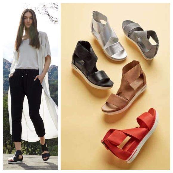 366b5f6c5fb Eileen Fisher Black Sport Platform Leather Sandal.  M 5a9ecb443afbbd0484dc7074